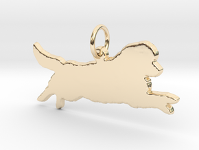 Newfoundland leaping dog silhouette pendant 3d in 14k Gold Plated Brass