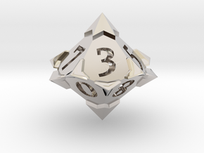 'Starry' D10 balanced die  in Rhodium Plated Brass
