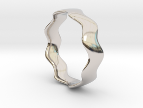 WIDE WAVE Ring in Rhodium Plated Brass