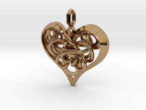 Tied Heart Pendant in Polished Brass