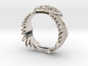 Winged Heart Ring SIZE 10 in Rhodium Plated Brass