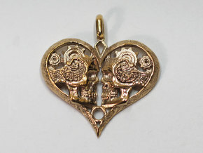 Love You To Death Pendant in Polished Bronze