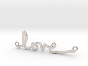 Love Handwriting Necklace in Rhodium Plated Brass