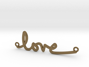 Love Handwriting Necklace in Polished Bronze