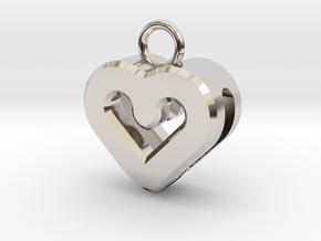 Resonant Heart Keychain in Rhodium Plated Brass