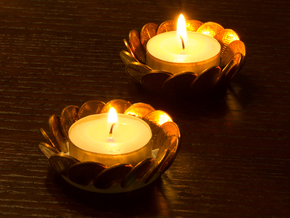 2x Penny Tea-Light Holder in Black Strong & Flexible