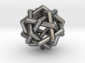 0452 Interwoven Set of Six Pentagons (d=3.3 cm) in Fine Detail Polished Silver