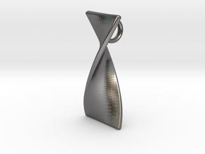 Twisty 180 polished pendant 3cm tall in Polished Nickel Steel