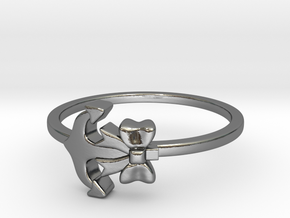 Anchor Bow Ring in Polished Silver: 4.25 / 47.125