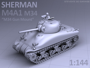 SHERMAN M4A1 (M34 Gun) TANK in Smooth Fine Detail Plastic
