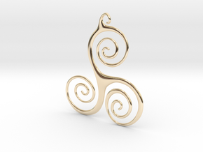 Three Waves Pendant in 14K Yellow Gold