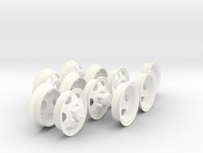 1-18 GMC 750x20 Rim Complete Set in White Processed Versatile Plastic