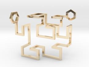 Gosper Pendant 3D in 14k Gold Plated Brass