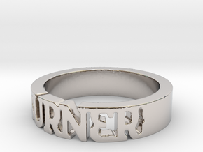 BlakOpal 'Burner' Cutout Band - Size 8 in Rhodium Plated Brass