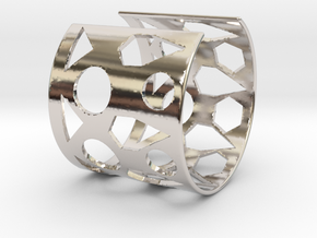 Cubic Bracelet Ø68 Mm/Ø2.677 inch Style A Large in Rhodium Plated Brass
