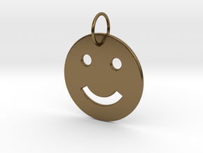 Smiley Pendant in Polished Bronze
