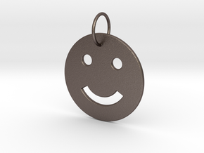 Smiley Pendant in Polished Bronzed Silver Steel