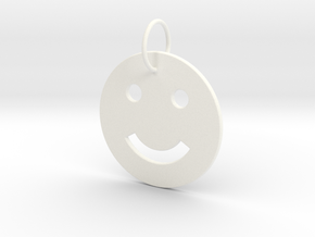 Smiley Pendant in White Processed Versatile Plastic