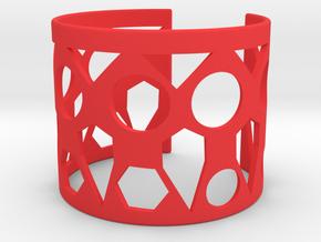 Cubic Bracelet Ø78 Mm/ Ø3.07inch Style A XXL in Red Processed Versatile Plastic