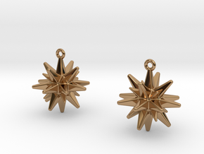 Christmas_Star Earrings  in Polished Brass