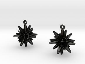 Christmas_Star Earrings  in Matte Black Steel