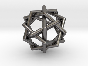 0459 Interwoven Set of Six Pentagons (d=2.8 cm) in Polished Nickel Steel