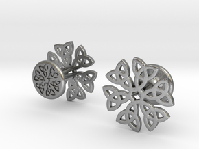 CELTIC KNOT CUFFLINKS 021116 in Natural Silver