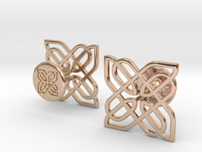 CELTIC KNOT CUFFLINKS 021216 in 14k Rose Gold Plated Brass