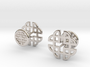 CELTIC KNOT CUFFLINKS 021316 in Rhodium Plated Brass
