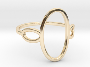 Oval Looped Ring - US Size 09 in 14k Gold Plated Brass