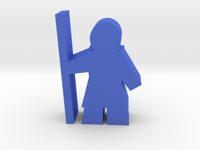 Game Piece, Warrior with Staff in Blue Processed Versatile Plastic