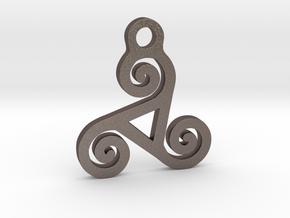 Triskelion Pendant 04 in Polished Bronzed Silver Steel
