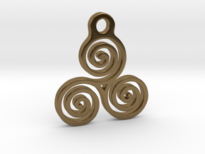 Triskelion Pendant 05 in Polished Bronze