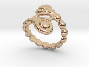 Spiral Bubbles Ring 23 - Italian Size 23 in 14k Rose Gold Plated Brass