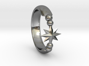 Ring of Star 15.3mm in Fine Detail Polished Silver