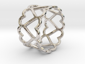 The Ring of Hearts (14 Hearts) Size: US 11 in Rhodium Plated Brass