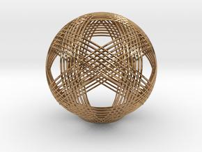 Icosahedron vertex symmetry weave 2 in Polished Brass