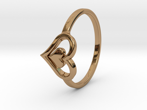 Heart Ring Size 5 in Polished Brass