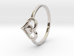 Heart Ring Size 6.5 in Rhodium Plated Brass