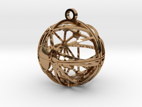 Craters of Mimas Pendant in Polished Brass