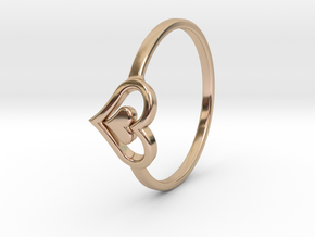 Heart Ring Size 8 in 14k Rose Gold Plated Brass