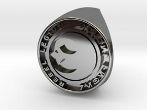 Custom Signet Ring Rebel Legion Size 6 in Fine Detail Polished Silver