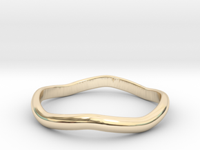 Ring Weaved Shape Design Size 6 in 14k Gold Plated Brass