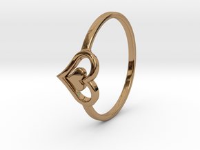 Heart Ring Size 8.5 in Polished Brass