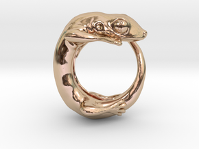 (Size 11) Gecko Ring in 14k Rose Gold Plated Brass