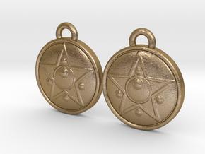 Crystal Star Earrings in Polished Gold Steel