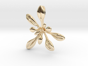 Large Arabidopsis Rosette pendant in 14K Yellow Gold