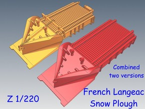 Z 1-220 French 2 Types Langeac Railway Snow Plough in Smooth Fine Detail Plastic