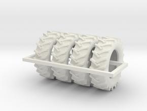 1/64 480/70r34 R1 X 4 Tractor Tires in White Natural Versatile Plastic