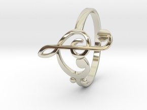 Size 7 Clefs Ring in 14k White Gold